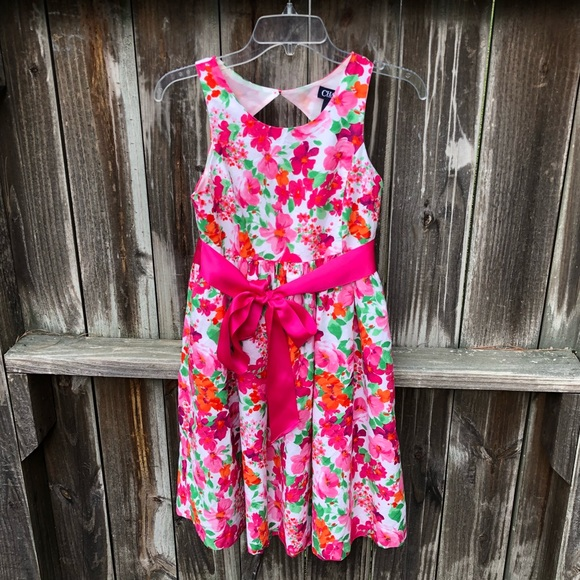 71c3f69c1c9c Chaps Dresses | Girls Blush Floral Dress With Bow | Poshmark